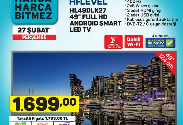 Hİ Level HL49DLK27 49 Full HD Android Smart Led TV
