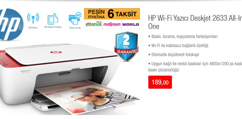 HP Wi-Fi Yazıcı Deskjet 2633 All-In-One