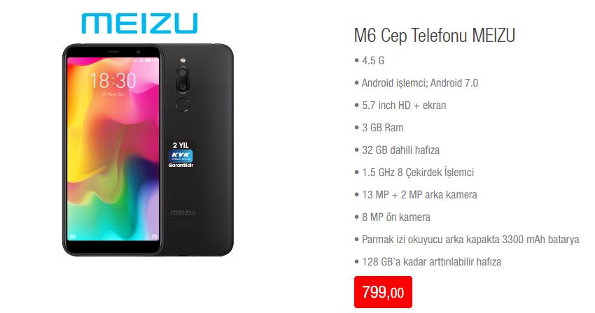 MeizuM6 Cep Telefonu