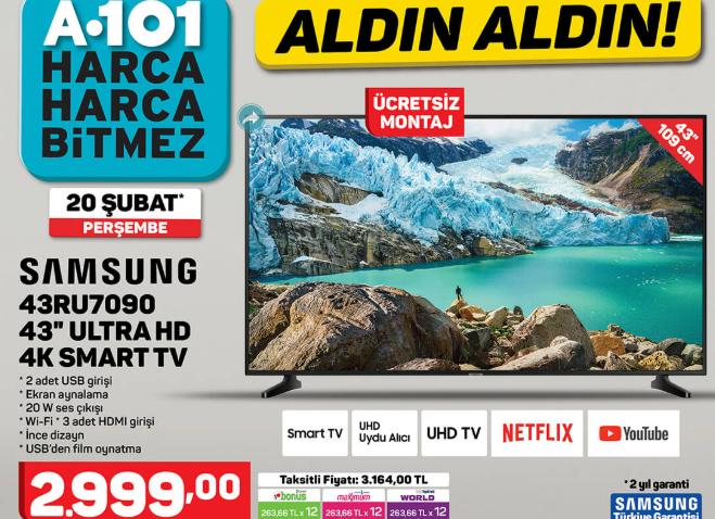 "Samsung 43RU7090 43"" Ultra HD 4K Smart Tv"