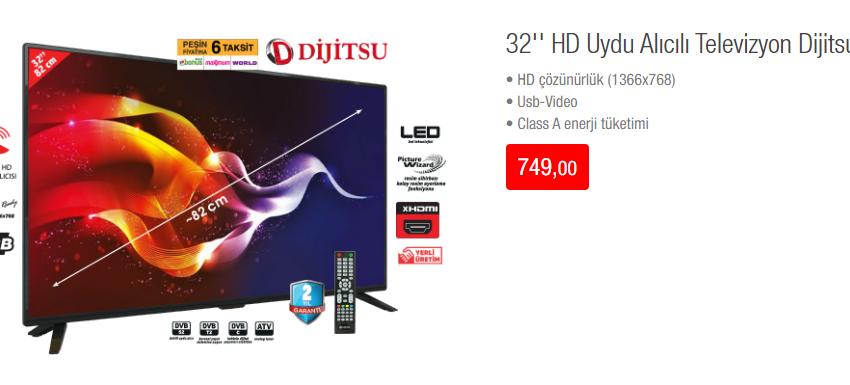 32'' HD Uydu Alıcılı Televizyon Dijitsu