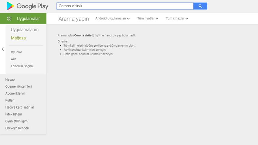 Google Play'deCorona Virüsü Aramaları Gösterilmiyor