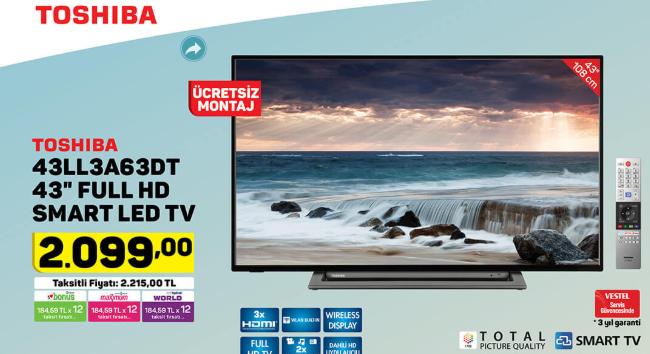 Toshiba 43LL3A63DT 43 Full HD Smart Led TV