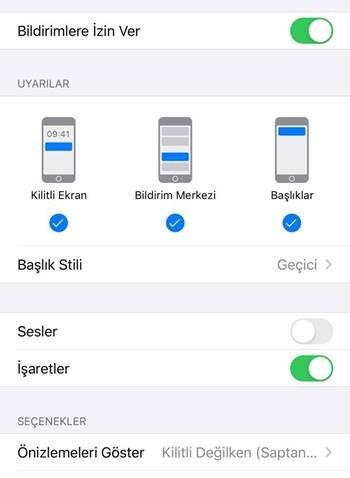 iOS bildirim seçenekleri