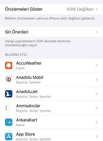 iOS bildirimler