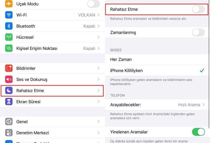 iOS rahatsız etme seçeneği