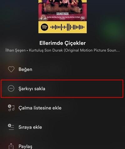 Spotify şarkıyı sakla