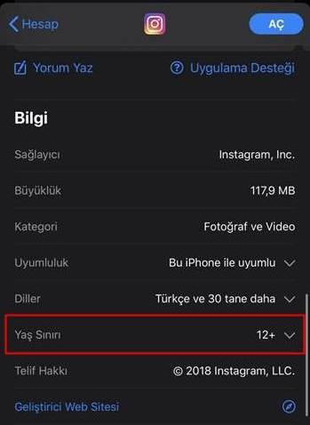 app store uygulama yaş sınırı