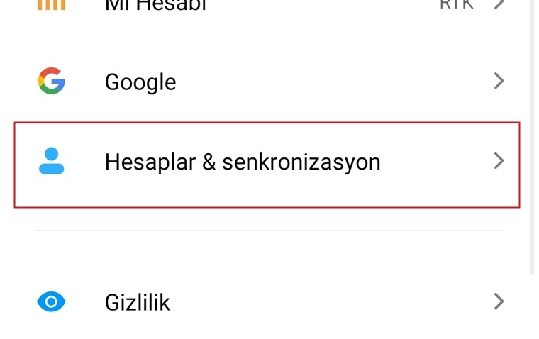 Android rehber yedekleme google senkronizasyon