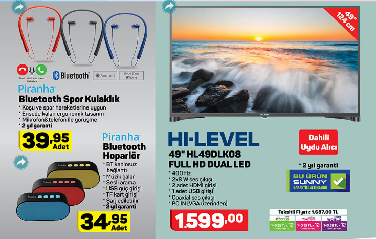 Hi Level HL49DLK08 49 FHD Dual Led Tv ve Bluetooth Ürünler