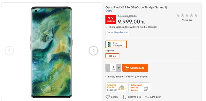 Oppo Find X2 Türkiye Fiyatı