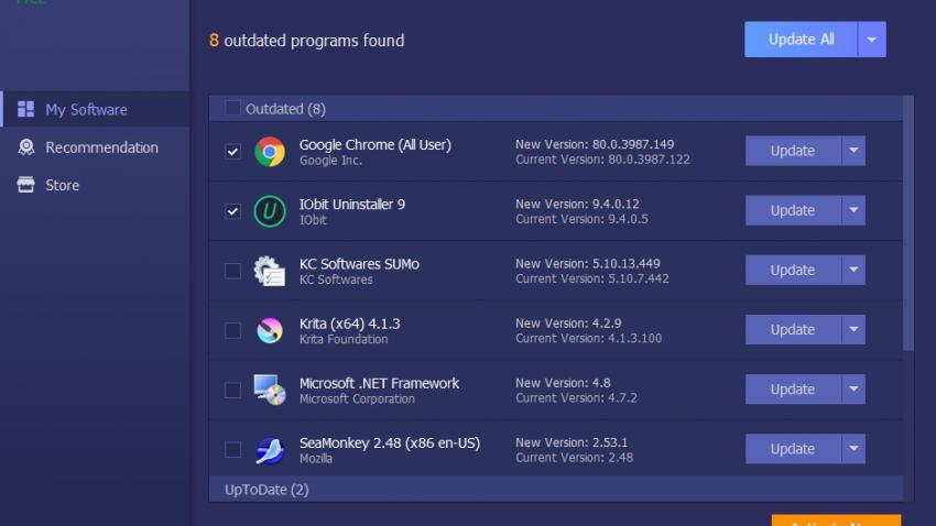 IObit Software Updater 3 main screen