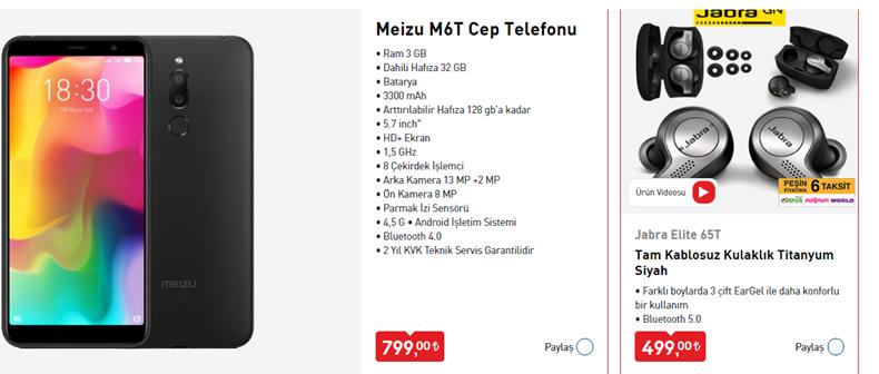 Meizu M6T Cep Telefonu