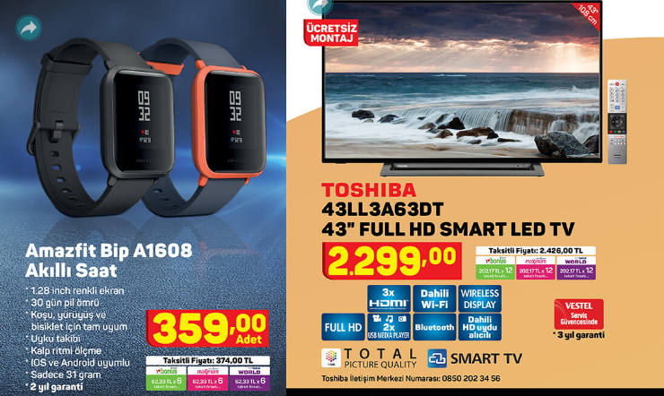 amazfit-bip-a1608-toshiba-43ll3a63dt-43-full-hd-smart-led-tv
