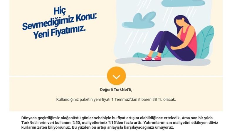 Turknet Fiyatlarına Zam Yaptı: Özgür İletişim Paketi 88 TL Oldu