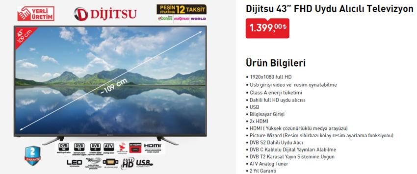 """Dijitsu 43"""" FHD Uydu Alıcılı Televizyon"""