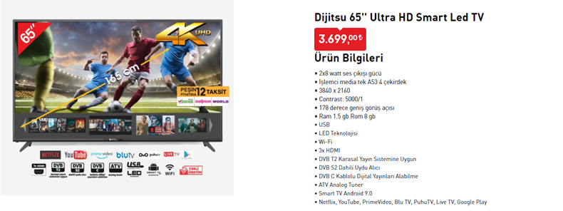 Dijitsu 65'' Ultra HD Smart Led TV