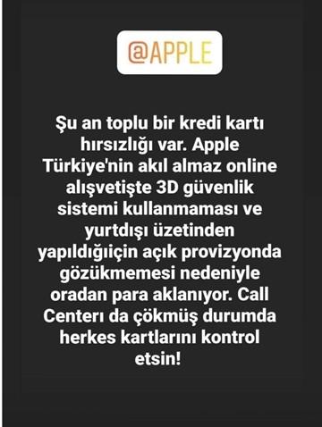 apple türkiye kredi kartı hırsızlığı