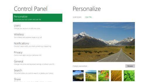 Windows 8 Kontrol Paneli