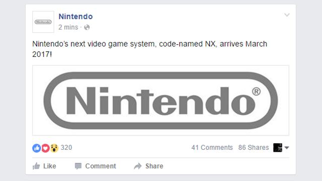 Nintendo'nun Yeni Konsolu Mart 2017'de Gelecek