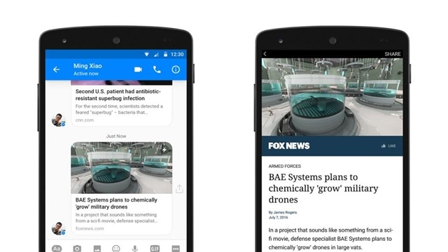 Facebook Messenger'ın Android Sürümüne Instant Articles Desteği Geldi