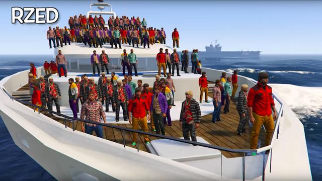GTA 5 Oyuncuları 100 Kişi ile Gemi Batırmaya Çalıştı