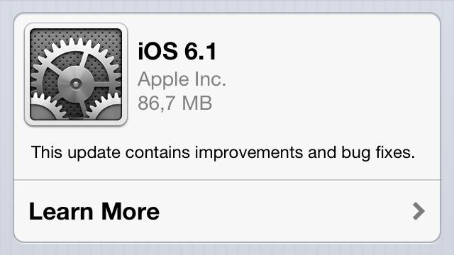iOS 6.1 Güncellemesi Yayınlandı
