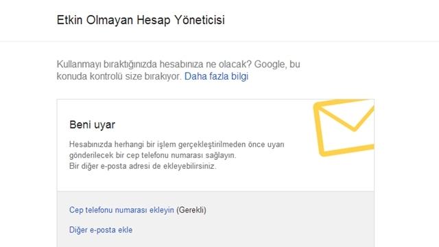 Google Etkin Olmayan Hesap Yöneticisini Kullanıma Sundu