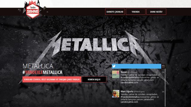 Yandex Sahne ile Metallica Konserine Bilet Kazanın