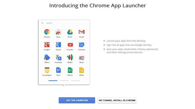 Chrome App Launcher Resmi Olarak Yayınlandı