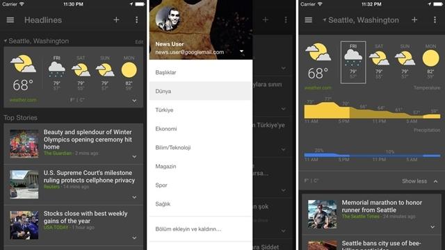 Google Haberler ve Hava Durumu iOS için Yayınlandı!