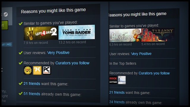 Steam Artık Size Neden Oyun Tavsiye Ettiğini de Söyleyecek