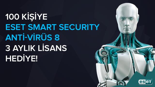 100 Şanslı Ziyaretçimizin ESET Smart Security Antivirus 8 Lisansı Kazanacağı Kampanyamıza Katılın (Kampanya Sona Ermiştir)