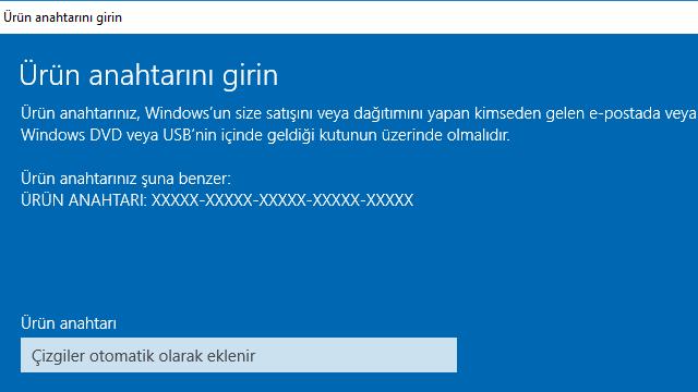 Windows 7/8/8.1 Ürün Anahtarı ile Windows 10 Etkinleştirme