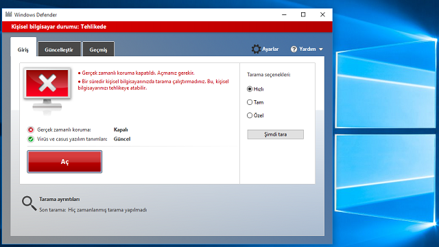 Windows 10'da Windows Defender Kapatma