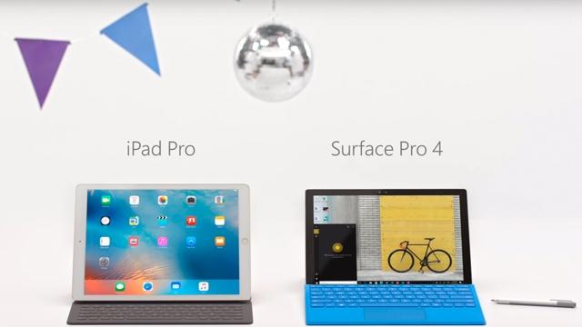 Microsoft Surface Pro 4 Reklamında Apple  iPad Pro ile Dalga Geçiti