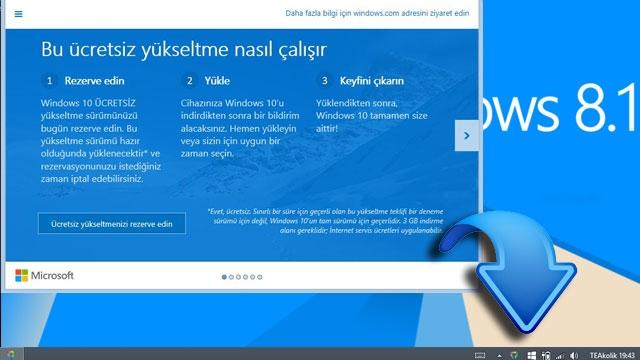 Windows 10'u Bedava Almak İçin Ön Kayıt İkonu Geri Geliyor