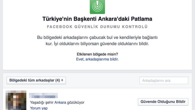 Facebook, Ankara'daki Patlama Sonrası 'Güvendeyim' Butonunu Aktif Hale Getirdi