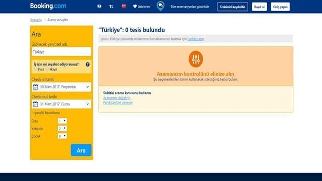 Türkiye'deki Tesislere Booking.com Aracılığıyla Yapılan Rezervasyonlar Durduruldu