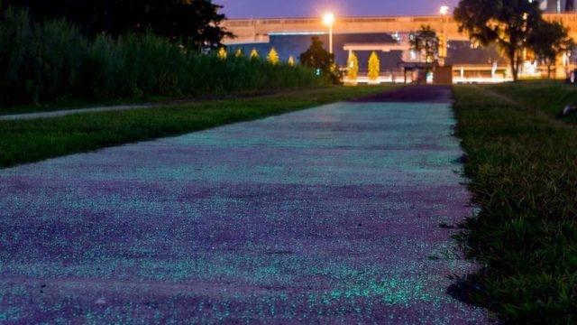 Singapur, Karanlıkta Parlayan Yolları Test Ediyor