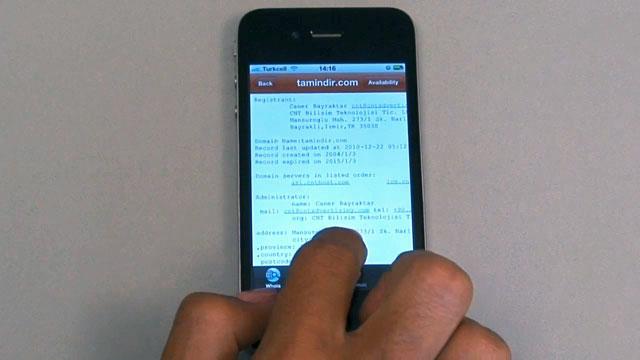 iPhone İçin Domain Tools Uygulaması