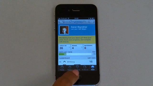 iPhone İçin Foursquare Uygulaması