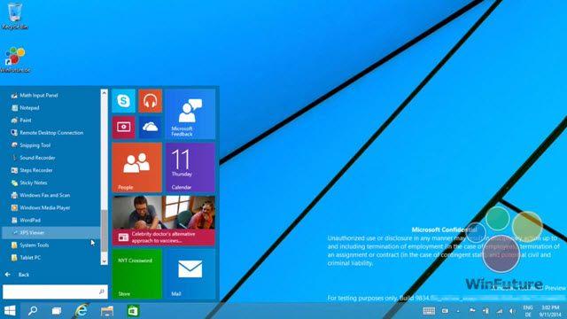 Windows 9'un Yeni Başlat Menüsü Videoda Gösterildi