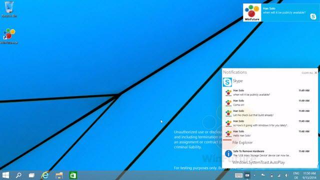Windows 9'ün Yeni Bildirim Merkezinden İlk Görüntüler