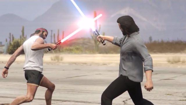 Bu da Oldu! GTA 5: Trevor ve Michael'in Işın Kılıcı Düellosu!