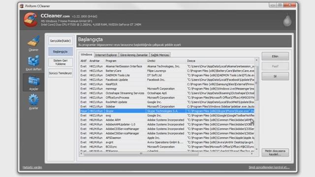 CCleaner Programı ile Windows Başlangıç Programlarını Belirleme