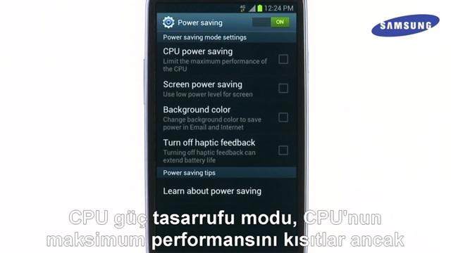 Galaxy S3 Enerji Tasarrufu Modu Nasıl Aktif Edilir