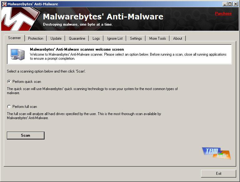 Malwarebytes' Anti-Malware Tarama