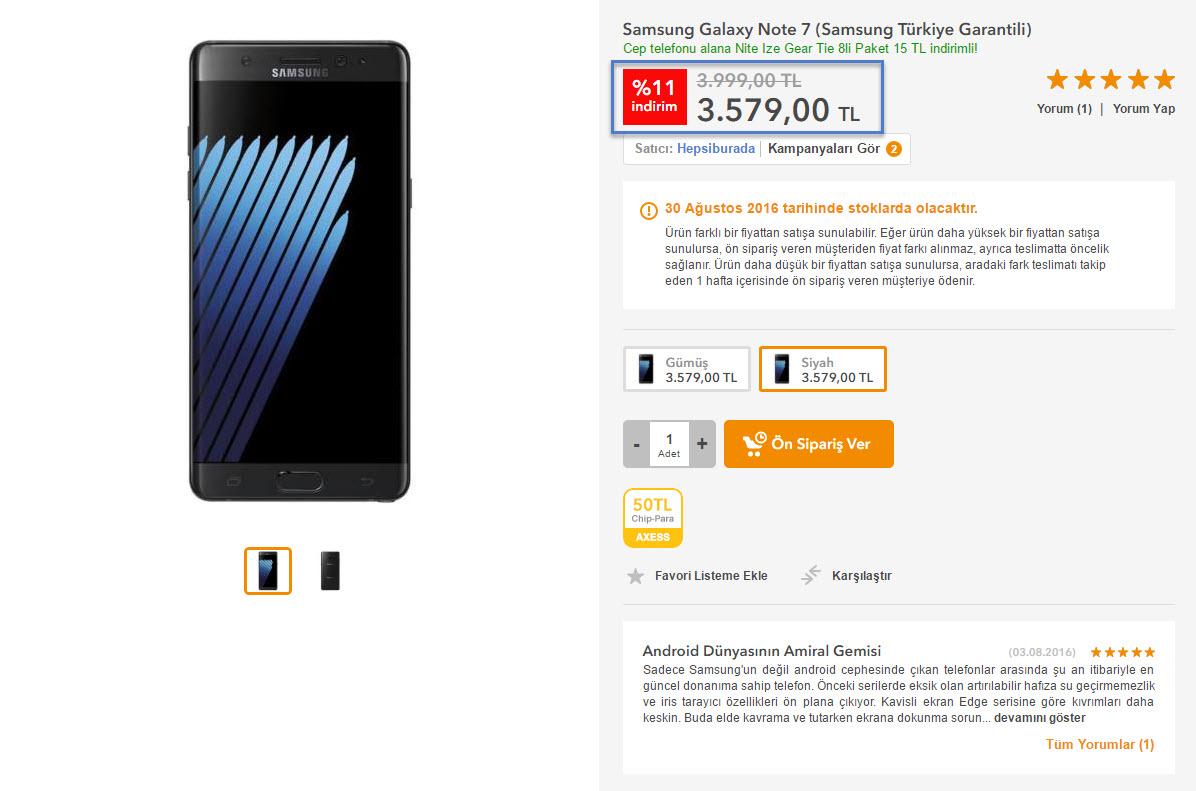 Samsung Galaxy Note 7 Türkiye Satış Fiyatı