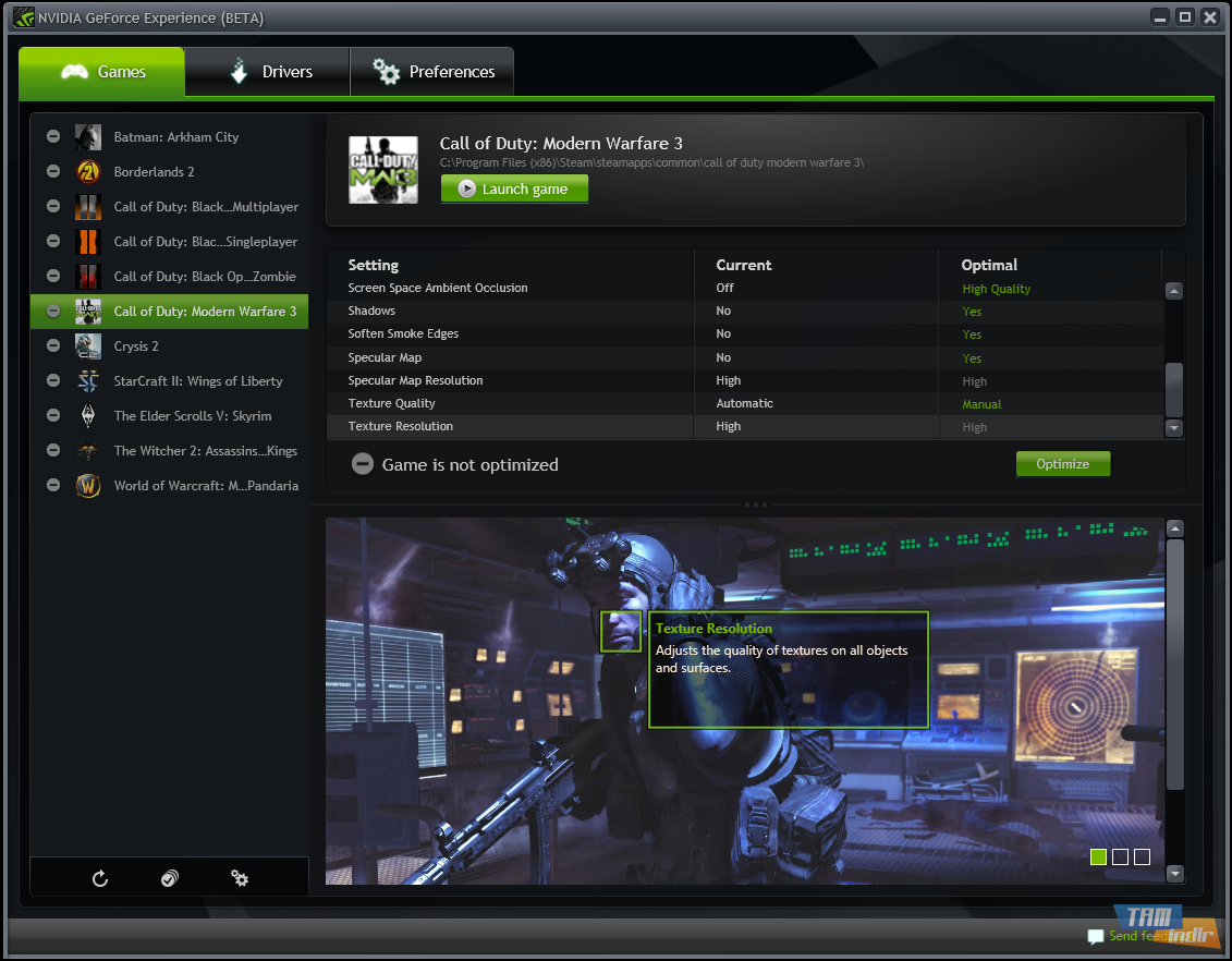 Nvidia oyunları optimize programı